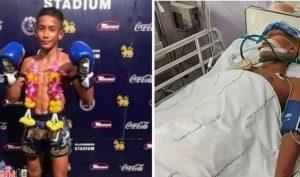 Ảnh Anucha Thasako đạt vinh quang trên võ đài và khi nhập viện vì chấn thương.