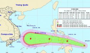 Dự báo vị trí và hướng di chuyển của áp thấp nhiệt đới. (Ảnh: Internet)