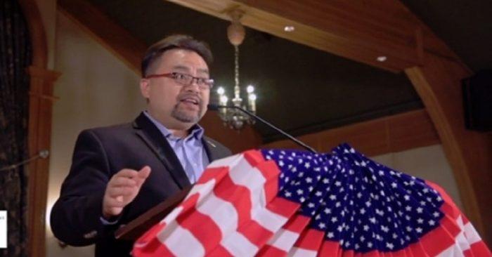 Ông Savio Phạm trong buổi vận động tranh cử hôm 19/10. (Nguồn: Internet)