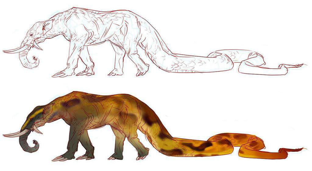 Hình ảnh mô tả Grootslang là một con thú lai, có đầu và thân voi, đuôi rắn. (Ảnh qua aminoapps.com)