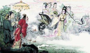 Tào Thực đã gặp nữ thần xinh đẹp ở Lạc Thủy, mặc dù trong lòng nảy sinh ngưỡng mộ, nhưng phải giữ kẽ giữ phép. (Ảnh: IFuun)