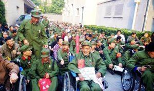 Các cựu binh biểu tình tại tỉnh Tây An năm 2014