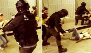 Ngày 1/12, một bà lão đã bị cảnh sát Hồng Kông đẩy ngã xuống đất một cách thô bạo.