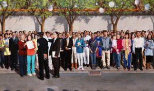 """Tác phẩm """"Ngày 25 tháng 4 năm 1999"""" của họa sĩ Khổng Hải Yến."""