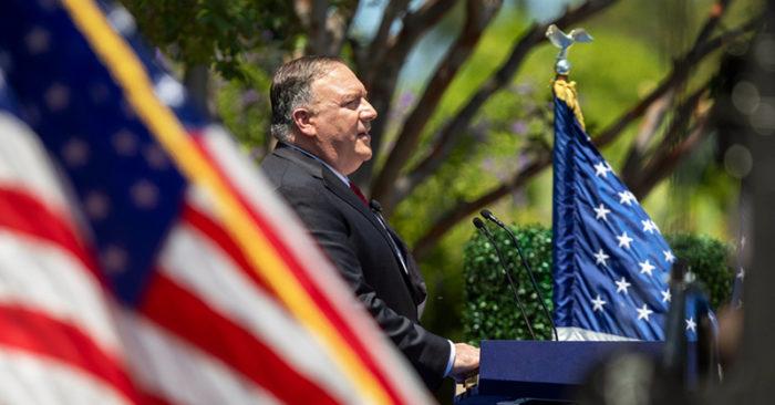 Ngoại trưởng Mỹ Mike Pompeo đã có bài phát biểu tại Thư viện Tổng thống Nixon vào ngày 23/7.